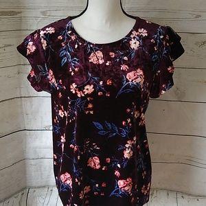 a.n.a soft purple velvet floral print blouse